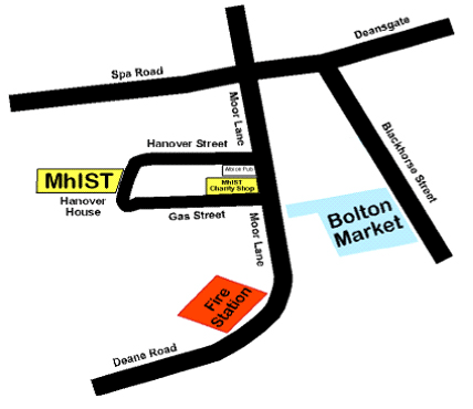 Map of Hanover Street area Bolton